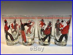Rare Set of 8 Art Deco Black Americana Bellhop Minstrel Tumbler Cocktail Glasses