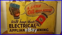 Rare Sign 1930s Home oiler 39×25 Black Americana Memora- Oil for Household