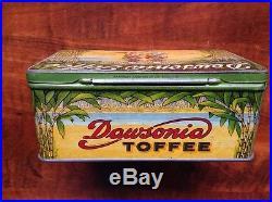 Rare Sugar Dawsonia Toffee Chocolate Candy Box Tin Black Americana 1930's