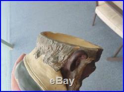 Rare Vintage Austria Antique Black Americana Headtobacco Jarhumidormajolica