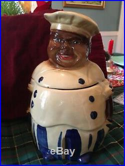 Rare Vintage Black Americana Aunt Jemina Mammy And Chef Cookie Jar Set 1940s