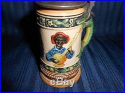 Rare Vintage Black Americana Mini Beer Stein Germay Black Minstrel Alligator