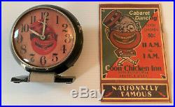 Rare Vintage COON CHICKEN INN Wind Up CLOCK Works & Bonus Restaurant MENU B Amer