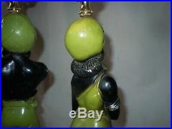Rare Vtg MCM Chalkware Black Americana Blackamoor Genie Lamps CHARTREUSE