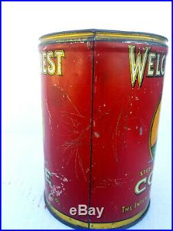 Rare Welcome Guest Brand Coffee Tin Can No Reserve Auction Black Americana