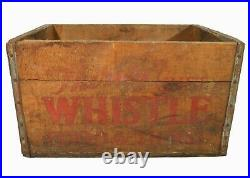 Rare Whistle Bottling Co Vint Wd Box Soda Crate Rd/blk Stmpd Ink, New Bedford Ma
