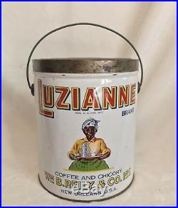 Rare White LUZIANNE 3 LB. Coffee Can Tin Pail MAMMY BLACK AMERICANA, 10 Tall