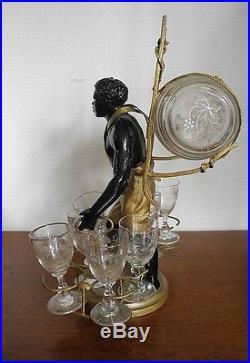 Rare antique French black americana decanter liquor set / stand 9 pieces