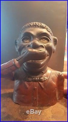 Rare jolly black bank Americana negro oRiginal march 14 1882 cast iron toy