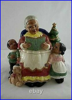 Retired Black Americana Mrs Clause and Children Cookie Jar by F & F Omnibus