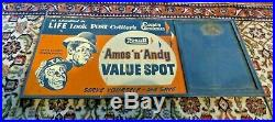 Rexall Amos'n' Andy Value Spot Heavy Tin Advertising Sign 34.5 x 15