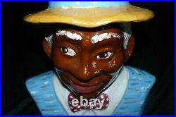 Rick Wisecarver Black Americana Cookie Jar Man with Straw Hat
