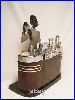 Ronson Art Deco Touch Tip Cigarette Lighter Black Americana Bartender Antique