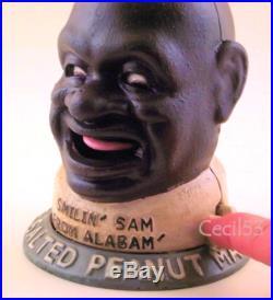 SMILIN' SAM FROM ALABAM' PEANUT MAN CAST IRON MECHANICAL BANK BLACK AMERICANA