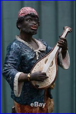STUNNING 19thC MAJOLICA BLACKAMOOR MALE FIGURE PLAYING STRINGED INSTRUMENT 1880s