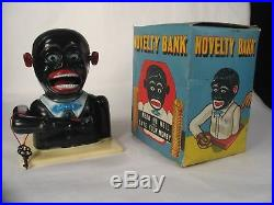 Scarce Mib Vintage Jolly Black Americana Savings Mechanical Coin Bank