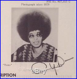 Signed Angela Davis WANTED Poster, 1970, Black Panther, Civil Rights