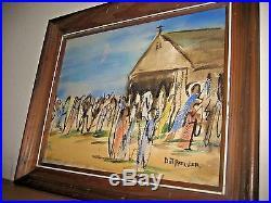 Signed Dot Pressler African American Modernist Church gathering Painting