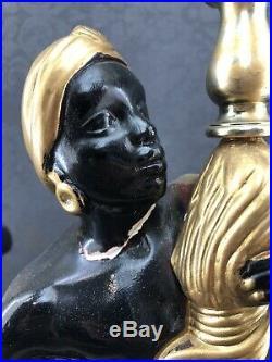 Silvestri Bros. 2x Black Americana Figures Chalkware Table Lamps MCM Vintage