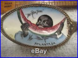 Sterling Enamel Black Americana Souvenir Spoon Atlanta GA Watermelon Cotton pick