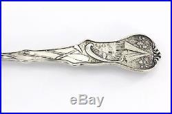 Sterling Silver Arkansas Cotton Pickers Enamel Black Americana Souvenir Spoon