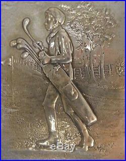 Super Antique Unger Bros. Sterling Silver Black Caddy Golfer Plate