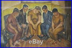 Superb 1936 Wpa Black African American Mourning Scene Painting Social Realism