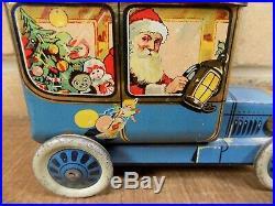 Superb Hudson Scott Santa Christmas Car Toy Biscuit Tin c1915 Black Americana