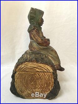 TOBACCO JAR Black Americana Vtg Antique Old Humidor Figural African Girl on Log
