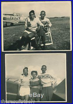 TWO ORIGINAL PHOTOS TUSKEGEE WW2 ID'd MAN & FIGHTER PLANE AFRICAN AMERICAN