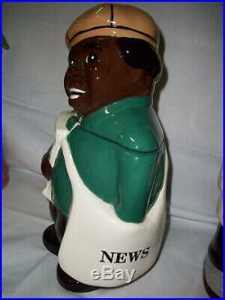The Paper Boy Cookie Jar Alfano Pottery Very Special Black Americana Cookie Jar