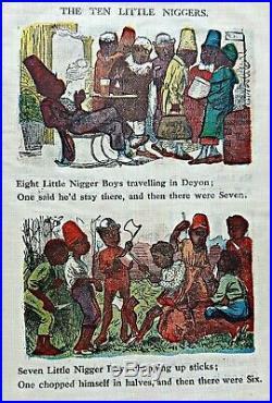 The Strange Tale of TEN LITTLE NIGGER BOYS Antique Childrens Toy books SLAVERY