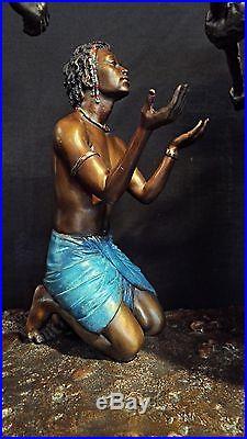 Thomas Blackshear's Ebony Visions RIGHT OF PASSAGE BRASS ON MARBLE BASE