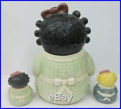 Treasure Craft Black Americana Rag Doll Spice Cookie Jar with Matching Shakers