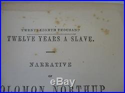 Twelve Years a Slave Black Americana Classic Antique Civil War Slavery 1855