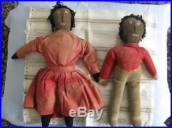 Two African American Black Folk Art Rag Dolls Antique Early Wonderful Pair
