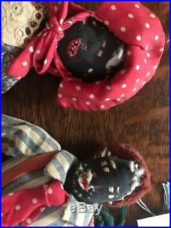Two Antique Black Americana Folk Art Handmade Rag Dolls