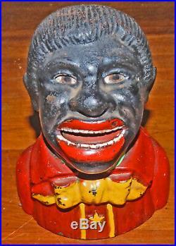 UNCLE TOM' Genuine ANTIQUE Black Man Mechanical Bank Coin Bank Money Box 19th C