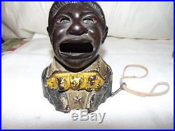 UNCLE TOM With STAR CAST IRON MECHANICAL BANK 1882 Kyser & Rex Co Black Americana