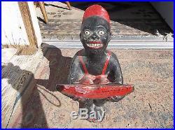 UNIQUE RARE VINTAGE BLACK AMERICANA FIGURE Doorstop Door Stop Watermelon Sambo