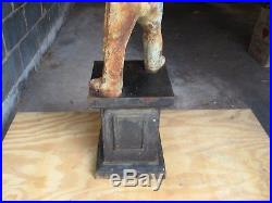 UPDATED! Black Americana Lawn Jockey Hitching Post Vintage Authentic Antique
