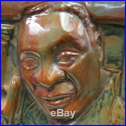 Ultimate Jazz musician Louis Armstrong art pottery sculpture artist signed DIANA