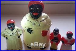 VINTAGE 1940s BLACK AMERICANA CERAMIC COOKIE JAR&SHAKER, MAMMY/PAPPY S&P LOT