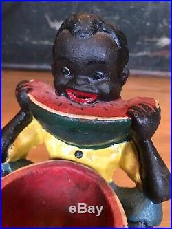 VINTAGE BLACK AMERICANA BOY EATING WATERMELON Cast IRON DOOR STOP Trinket
