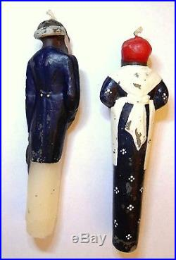 VINTAGE Black Americana Wax Candles Aunt Jemima and Man with hat and cane RARE