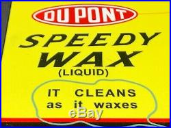VINTAGE DUPONT SPEEDY WAX CAN With BLACK AMERICANA BOY 12 METAL GASOLINE OIL SIGN