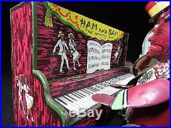 VINTAGE STRAUSS HAM & SAM PIANO MUSIC AMERICANA BLACK TIN LITHO WINDUP TOY WORKS