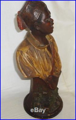 VRare c1860-1880 14 BLACKAMOOR chalkware FULL BUST STATUE Nubian Slave #322