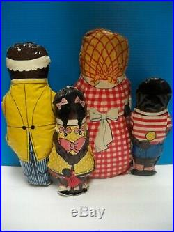 VTG 1940's BLACK AMERICANA AUNT JEMIMA, UNCLE MOSES, DIANA, WADE OIL CLOTH DOLL