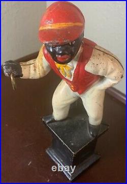 VTG Cast Iron Lawn Jockey Hitching Post Door Stop Black Americana Jocko Horse